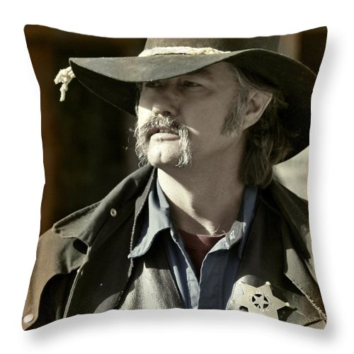 Portrait Throw Pillow featuring the photograph Portrait Of A Bygone Time Sheriff by Christine Till