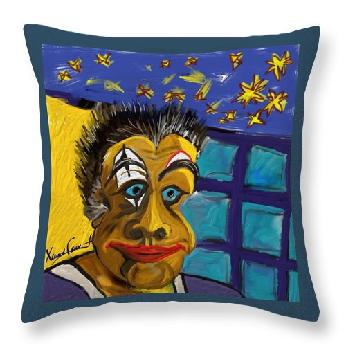Figurative Throw Pillow featuring the painting Portrait Of A Clown by Xavier Ferrer