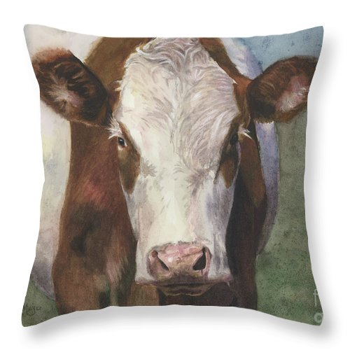 Cow Painting Throw Pillow featuring the painting Portrait Of A Cow Iv by Terri Meyer