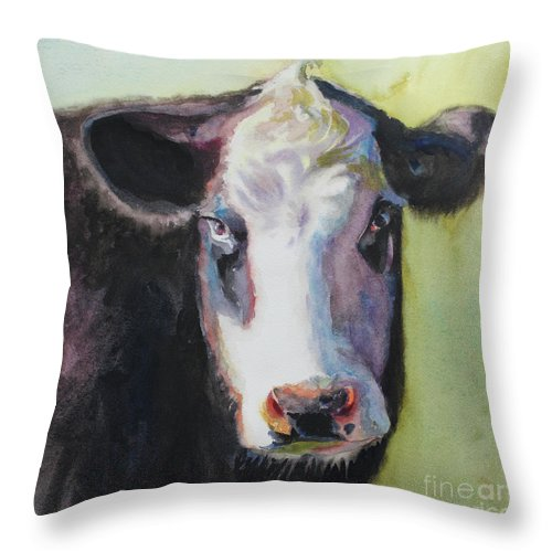 Cow Portrait Throw Pillow featuring the painting Portrait Of A Cow by Terri Meyer