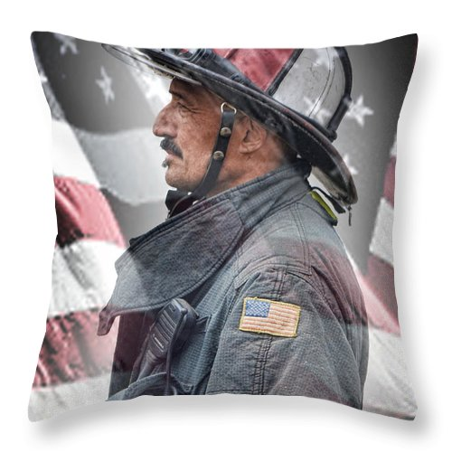 Portrait Of A Fire Fighter Throw Pillow featuring the photograph Portrait Of A Fire Fighter by Jim Fitzpatrick