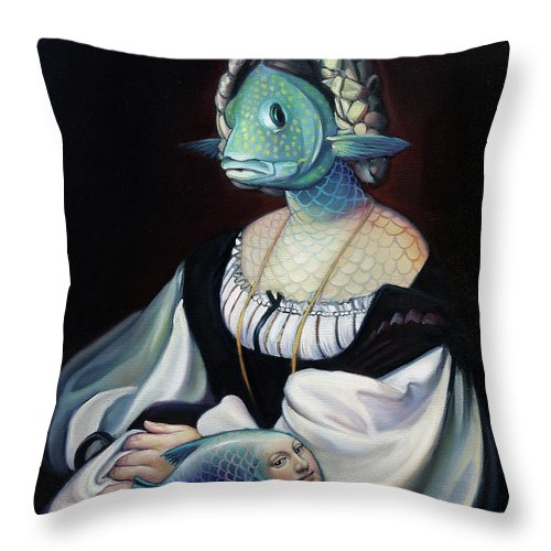 Fish Throw Pillow featuring the painting Portrait Of A Gentlefisher by Patrick Anthony Pierson