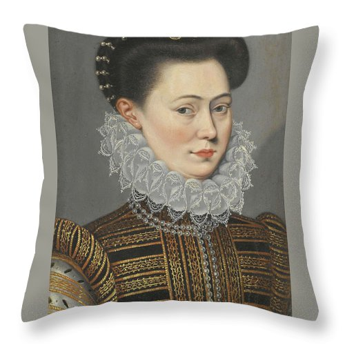 Follower Of Frans Pourbus The Younger Throw Pillow featuring the painting Portrait Of A Lady Head And Shoulders In A Lace Ruff by Follower of Frans Pourbus the Younger