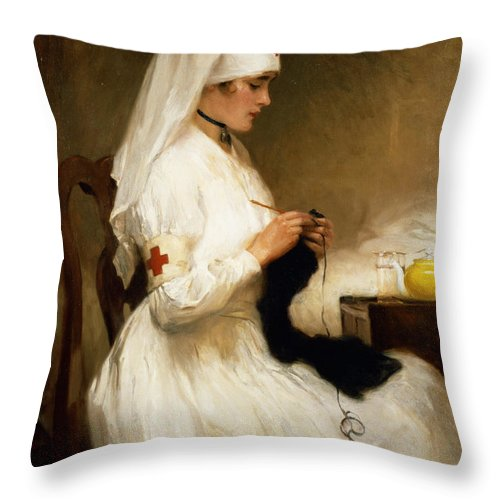 Portrait Throw Pillow featuring the painting Portrait Of A Nurse From The Red Cross by Gabriel Emile Niscolet