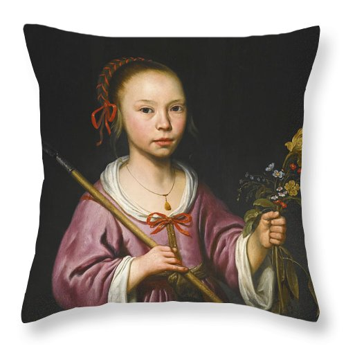 Aelbert Cuyp Throw Pillow featuring the painting Portrait Of A Young Girl As A Shepherdess Holding A Sprig Of Flowers by Aelbert Cuyp