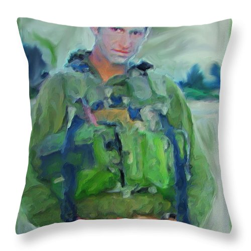 Portrait Throw Pillow featuring the painting Portrait Of A Young Man Soldier In Uniform Combat - War Is Too Costly On Teen And Dear Life To Waste by Exclusive Canvas Art