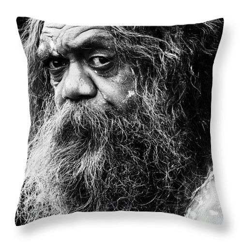 Aborigine Aboriginal Australian Throw Pillow featuring the photograph Portrait Of An Australian Aborigine by Sheila Smart Fine Art Photography