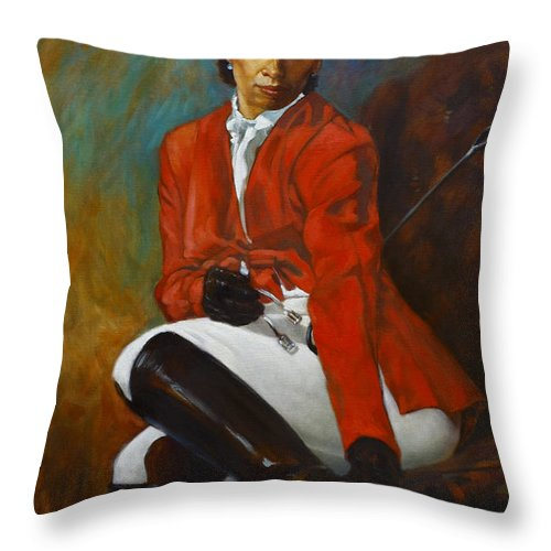 Portrait Throw Pillow featuring the painting Portrait Of An Equestrian by Harvie Brown