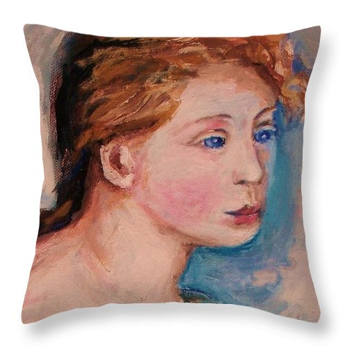 Portraits Throw Pillow featuring the painting Portrait Of Country Girl by Eric Schiabor
