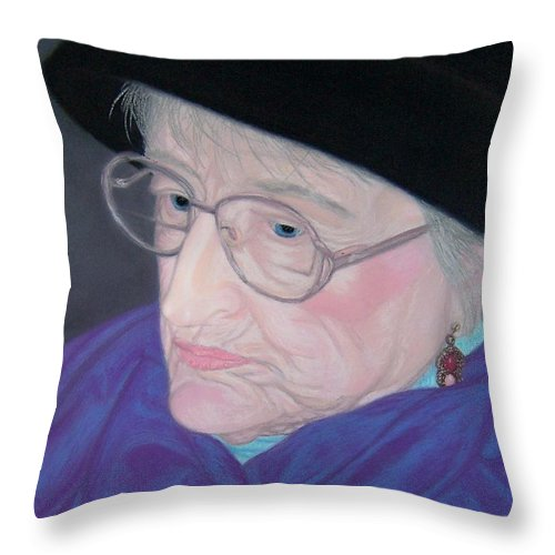 Grandma Throw Pillow featuring the pastel Portrait Of Elizabeth by Emily Young