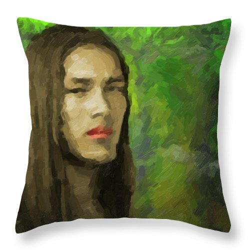 Portrait Throw Pillow featuring the painting Portrait Of Enzo. by Joaquin Abella