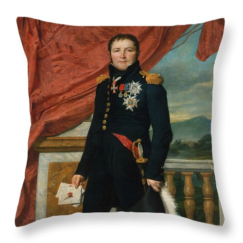 19th Century Art Throw Pillow featuring the painting Portrait Of French Politician And Soldier Etienne Maurice Gerard by Jacques-Louis David