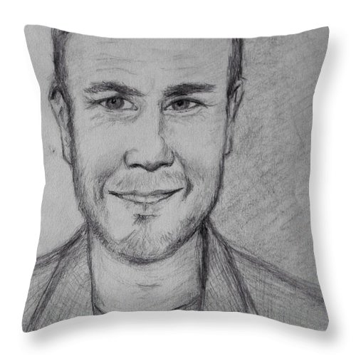 Portrait Of Gary Barlow Throw Pillow For Sale By Joan Violet Stretch