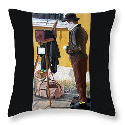 Mime Throw Pillow featuring the painting Portrait Of Identity by Michael Lee