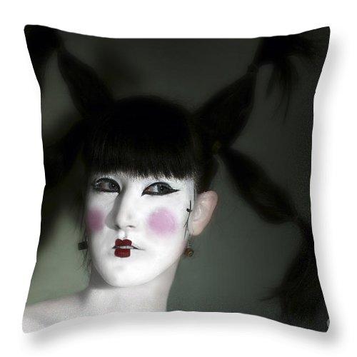 Portrait Throw Pillow featuring the photograph Portrait Of Japanese Model by Raphael Ben Dor