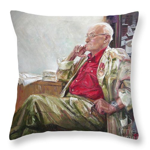 Oil Throw Pillow featuring the painting Portrait Of May Dancig by Sergey Ignatenko