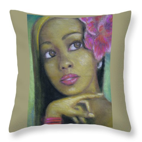 Drawing Throw Pillow featuring the drawing Portrait Of Monica by Jan Gilmore