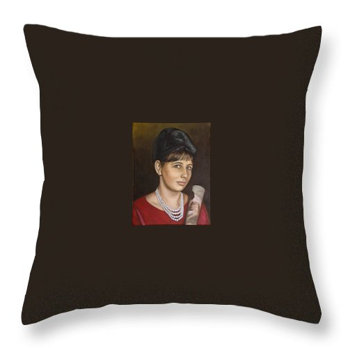 Portrait Throw Pillow featuring the painting Portrait Of My Mother Early Sixties by Rob De Vries