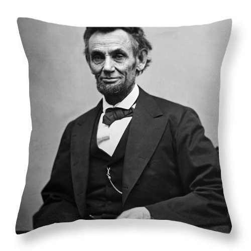 abraham Lincoln Throw Pillow featuring the photograph Portrait Of President Abraham Lincoln by International Images