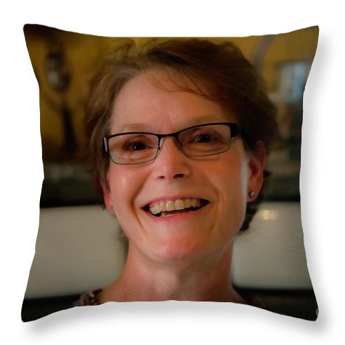 Portrait Of Sherry Seckman In Her Kitchen 2781vt2 Throw Pillow For Sale By Doug Berry