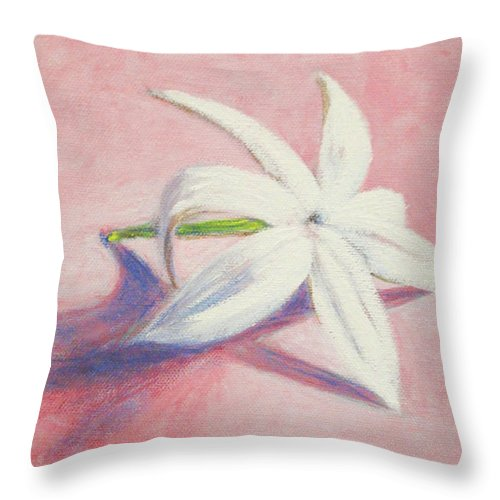 Portrait Throw Pillow featuring the painting Portrait Of The Jasmine Flower by Usha Shantharam