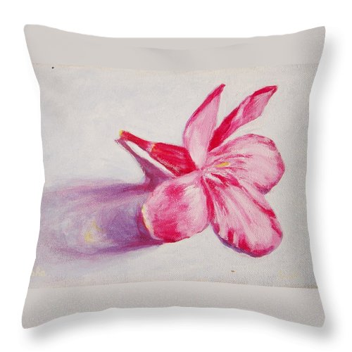 Genneri Throw Pillow featuring the painting Portrait Of The Kaneri Flower. Oleander by Usha Shantharam