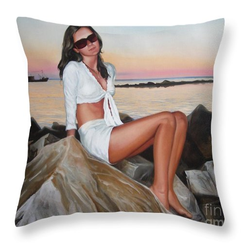 Art Throw Pillow featuring the painting Portrait by Sergey Ignatenko