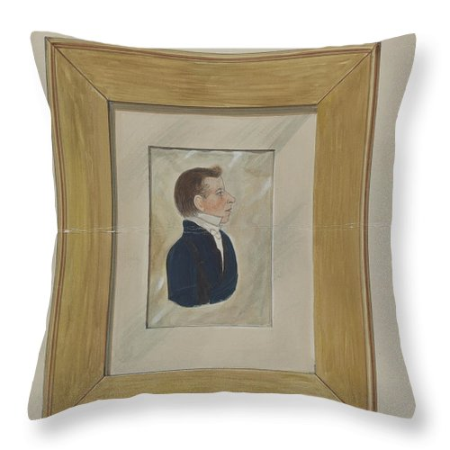 Throw Pillow featuring the drawing Portrait by William Vergani
