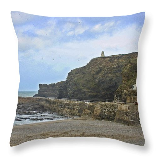 Portreath Throw Pillow featuring the photograph Portreath Cornwall by Terri Waters