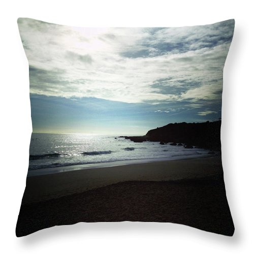 Beach Scene Throw Pillows : Portugal Beach Scene Throw Pillow for Sale by Nancie McKinnon