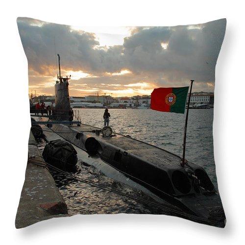 Harbor Throw Pillow featuring the photograph Portuguese Navy Submarine by Gaspar Avila