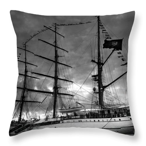 Brig Throw Pillow featuring the photograph Portuguese Tall Ship by Gaspar Avila