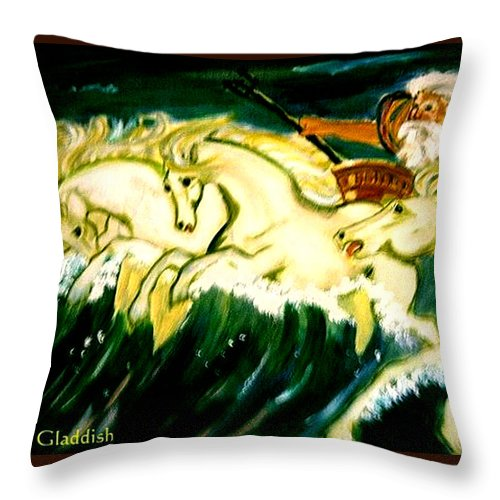 Mythical Throw Pillow featuring the painting Poseidon by Rusty Gladdish