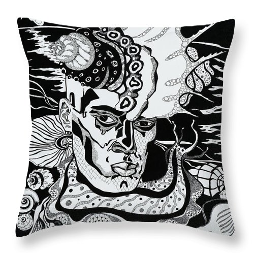 Surreal Throw Pillow featuring the drawing Poseidon by Yelena Tylkina