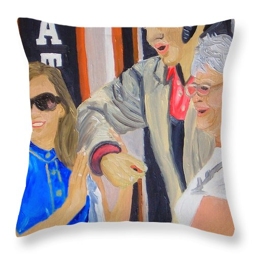 Elvis Throw Pillow featuring the painting Posing With Elvis by Michael Lee