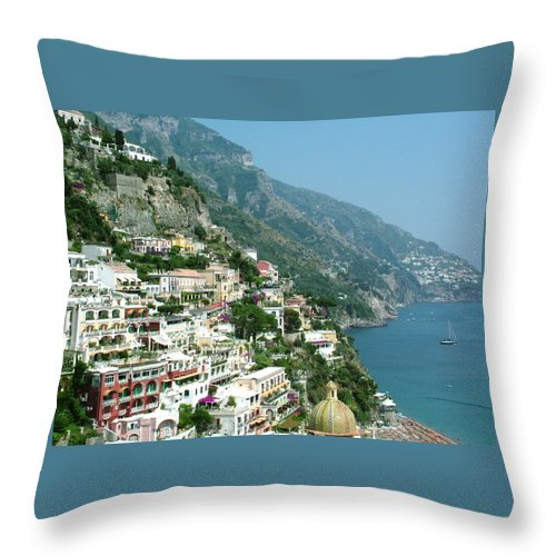 Positano Throw Pillow featuring the photograph Positano In The Afternoon by Donna Corless
