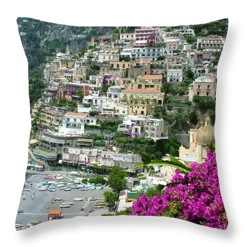 Positano Throw Pillow featuring the photograph Positano's Beach by Donna Corless