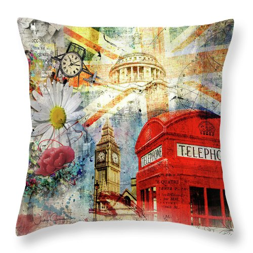 London Throw Pillow featuring the digital art Positive Vibrations by Nicky Jameson