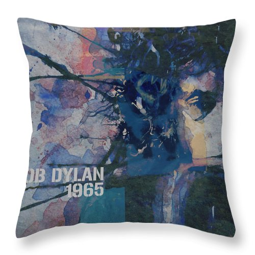 Bob Dylan Throw Pillow featuring the painting Positively 4th Street by Paul Lovering