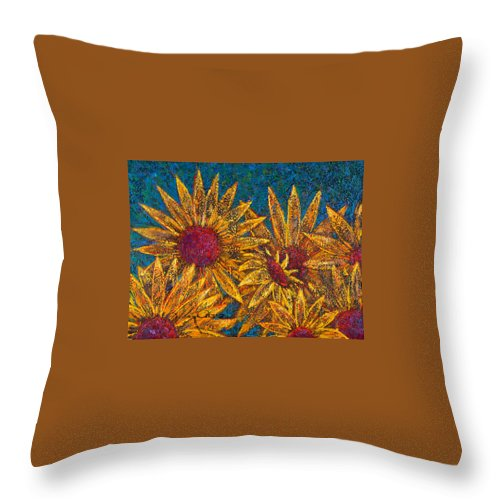 Flowers Throw Pillow featuring the painting Positivity by Oscar Ortiz