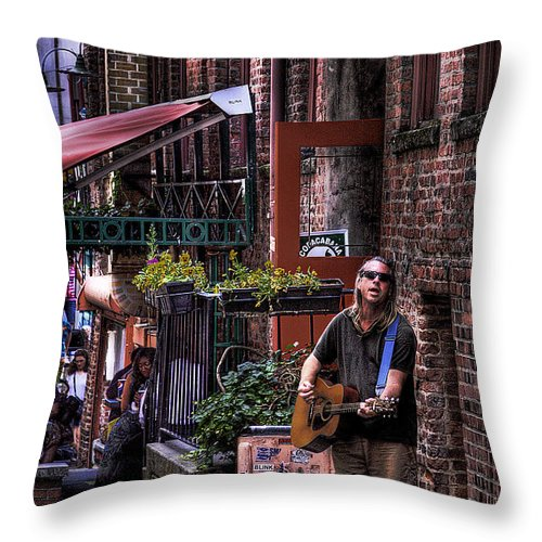 Post Alley Musician Throw Pillow featuring the photograph Post Alley Musician by David Patterson