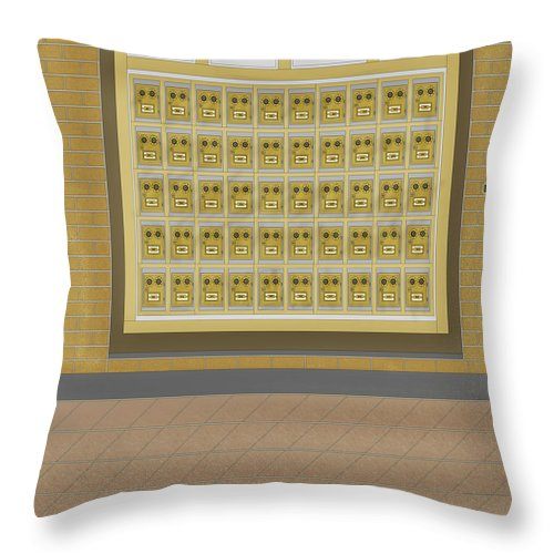 Post Office Boxes Throw Pillow featuring the painting Post Office And Store At Ralston by Anne Norskog