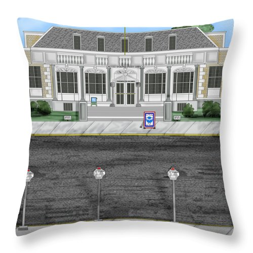 Townscape Throw Pillow featuring the painting Post Office In Thermopolis by Anne Norskog