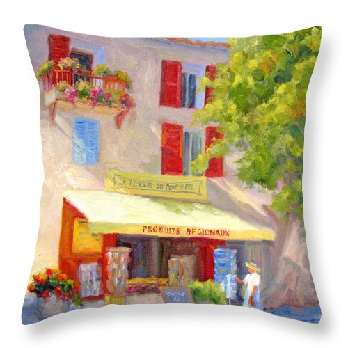 Provence Throw Pillow featuring the painting Postcard From Provence by Bunny Oliver