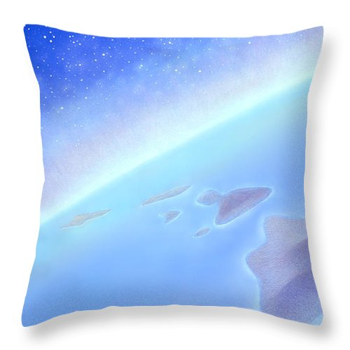 Hawaiian Islands Throw Pillow featuring the painting Postcards From Concorde by Kevin Smith