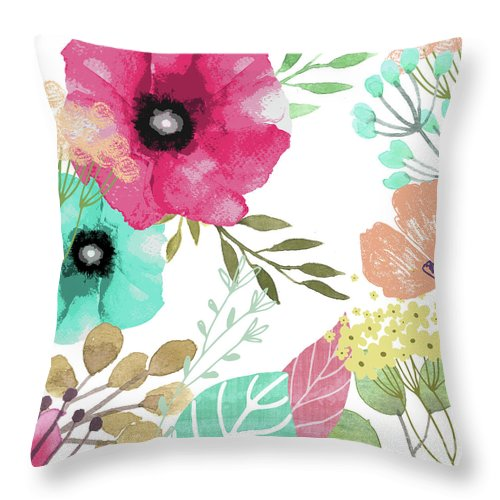 Flowers Throw Pillow featuring the painting Posy by Mindy Sommers