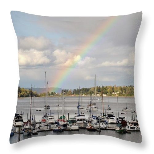 Boats Throw Pillow featuring the photograph Pot Of Gold by Frank Larkin