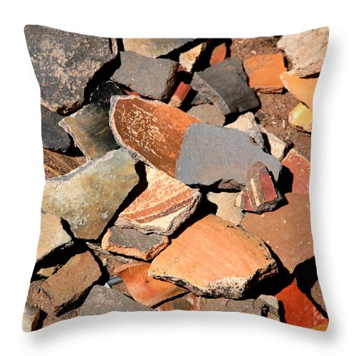 Native American Throw Pillow featuring the photograph Pot Shards by Joe Kozlowski