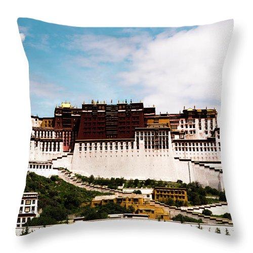Tibet Throw Pillow featuring the photograph Potala Palace Dalai Lama Home Place. Tibet Kailash Yantra.lv 2016 by Raimond Klavins