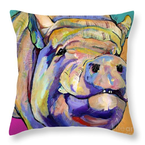 Pig Prints Throw Pillow featuring the painting Potbelly by Pat Saunders-White